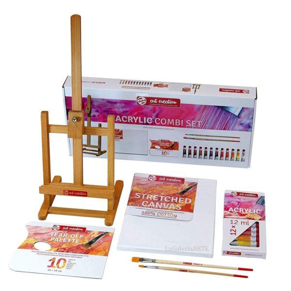 COMBI Set Acrilico 12x12ml ArtCreation con Caballete
