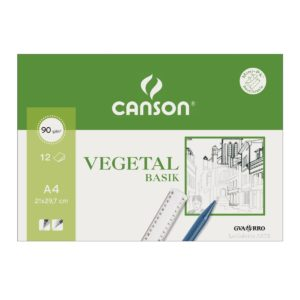 Papel Vegetal 90g CANSON 12 Hojas A-4 Mini-Pack