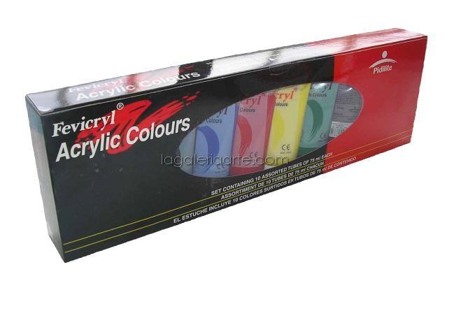 Acrilico Fevicryl Set 10 Tubos 75ml