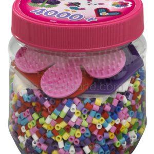 Bote Hama 4.000 beads y 3 placas/pegboards pequeñas (nº2051)