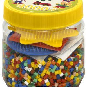 Bote Hama 4.000 beads y 3 placas/pegboards pequeñas (nº 2052)