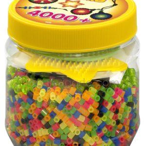 Bote Hama 4.000 beads y 2 placas/pegboards pequeñas (nº 2056)