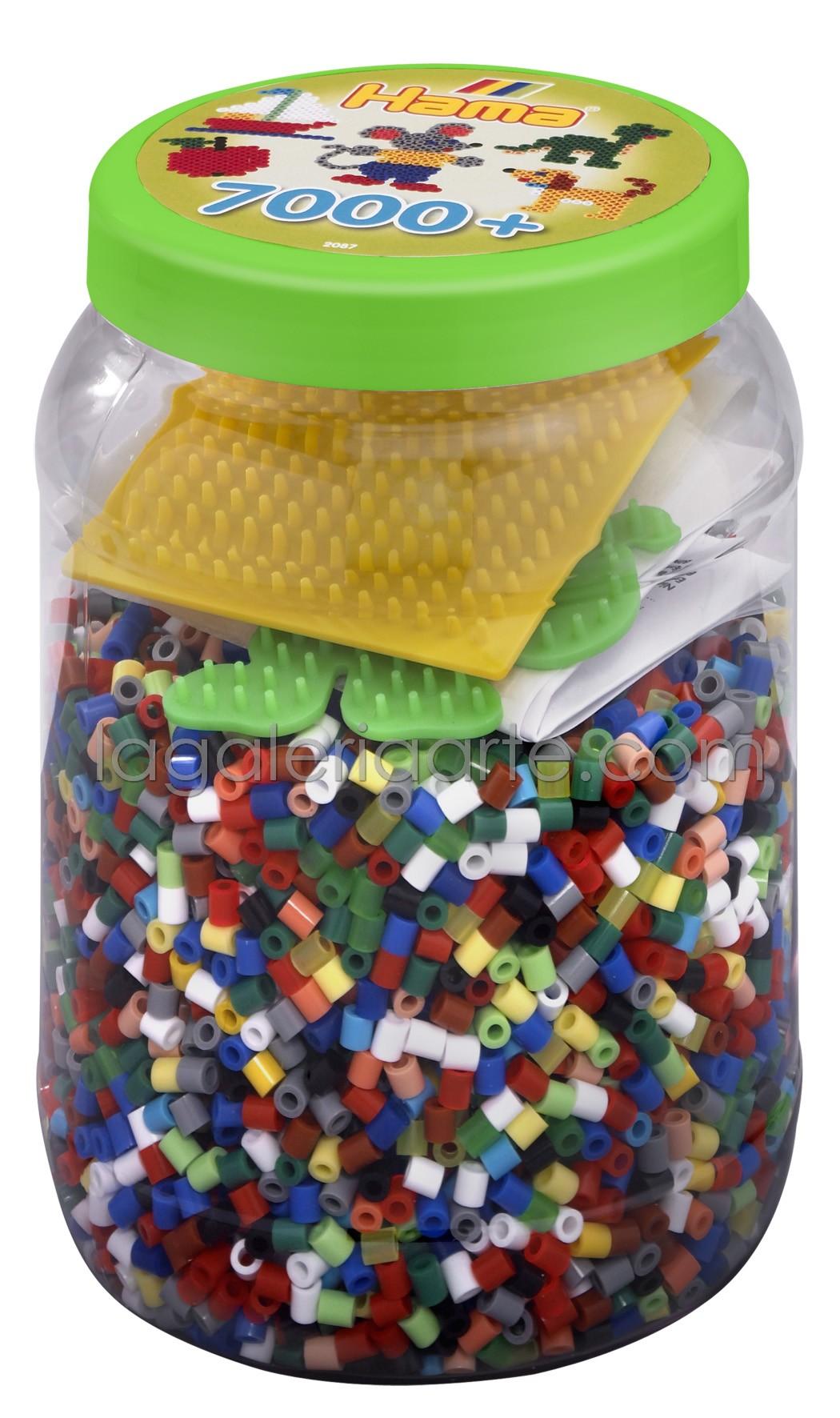 Bote Hama 7.000 Beads y 2 placas/pegboards (nº 2087)