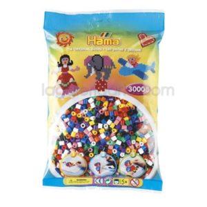 Bolsa Hama midi mix/mezcla 10 colores 201-00 de 3000 piezas