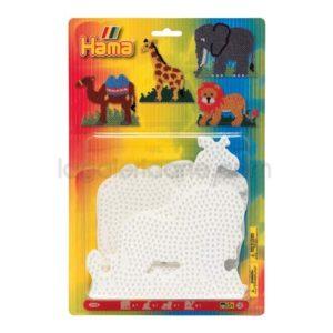 Blister Hama 4 Placas Pegboards elefante, jirafa, león y camello