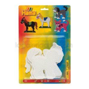 Blister Hama 3 Placas Pegboards caballo, perro y gato Ref: 4556