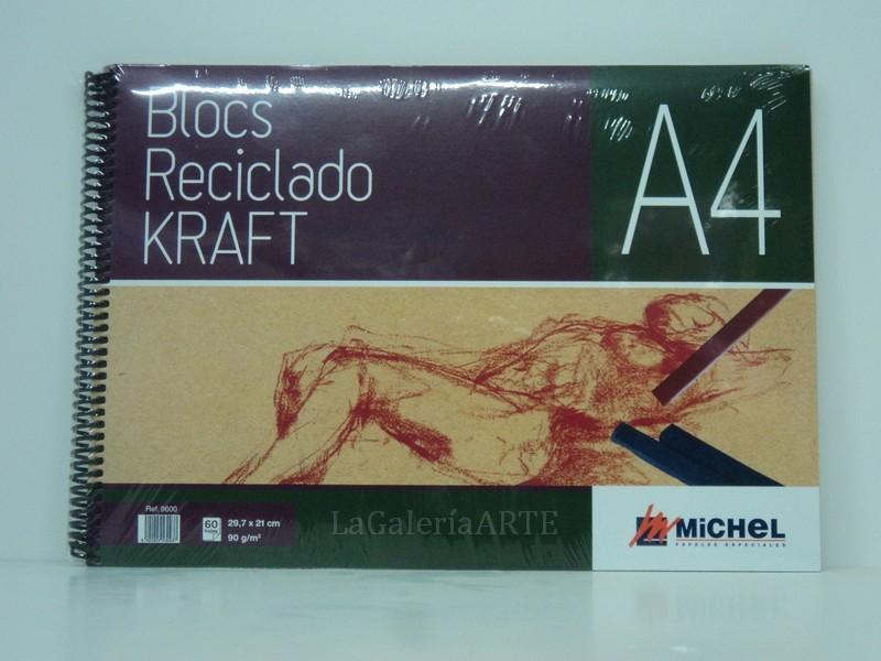 Bloc Reciclado Kraft 90g 60 hojas A-4 MICHEL