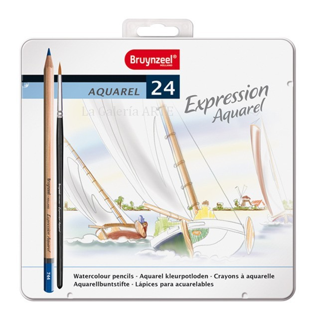 Estuche Metal 24 Lapices Acuarelables Expression Bruynzeel