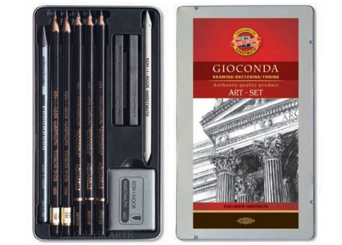 Estuche Metal 8893 Juego Dibujo Lapices Gioconda KOH-I-NOOR