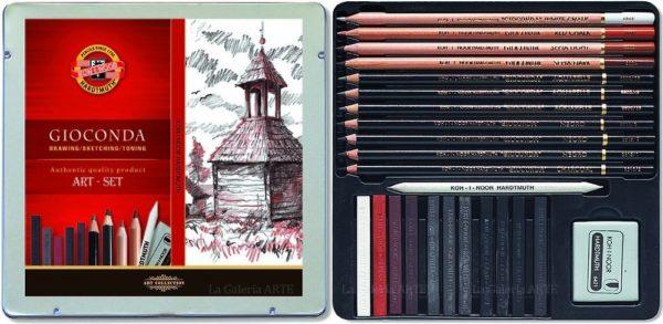 Estuche Metal 8899 Juego Dibujo Grafitos Gioconda KOH-I-NOOR