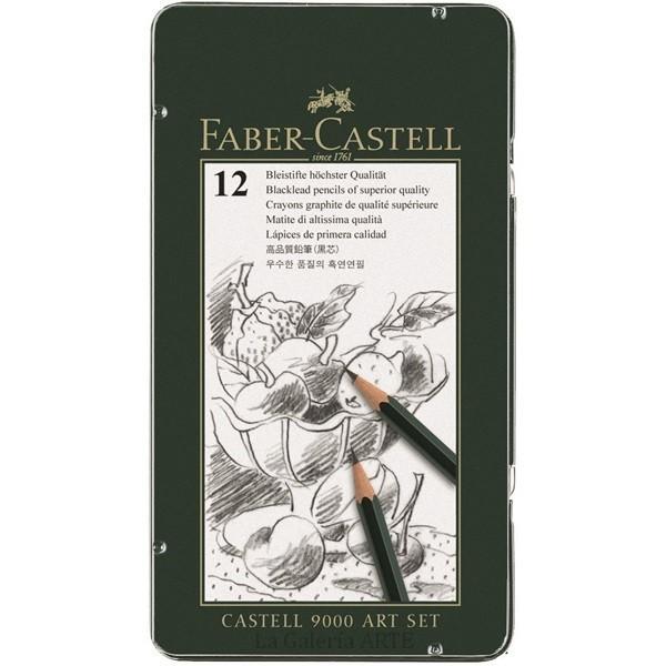 Estuche Metal 12 Lapices Grafito FABER-CASTELL 9000 Art Set 119065