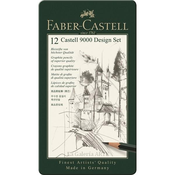 Estuche Metal 12 Lapices Grafito FABER-CASTELL 9000 Design Set 119064