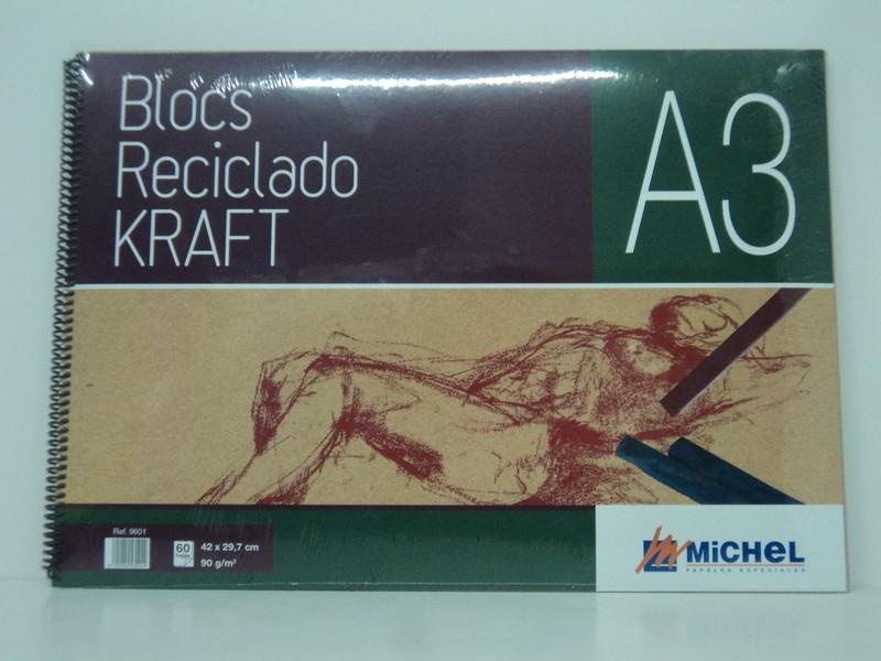 Bloc Reciclado Kraft 90g 60 hojas A-3 MICHEL