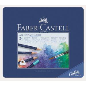 Estuche Metal 24 Lapices Acuarelables ART GRIP AQUARELLE Faber-Castell