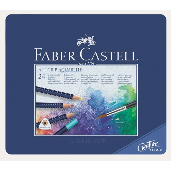 Estuche Metal 24 Lapices Acuarelables ART GRIP AQUARELLE Faber-Castell