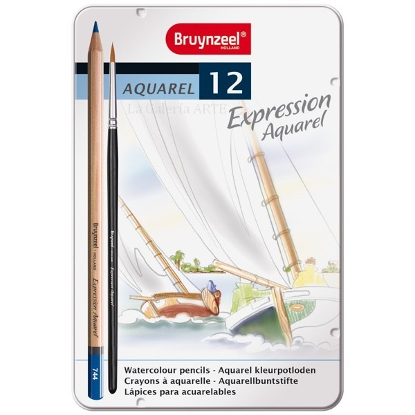 Estuche Metal 12 Lapices Acuarelables Expression Bruynzeel