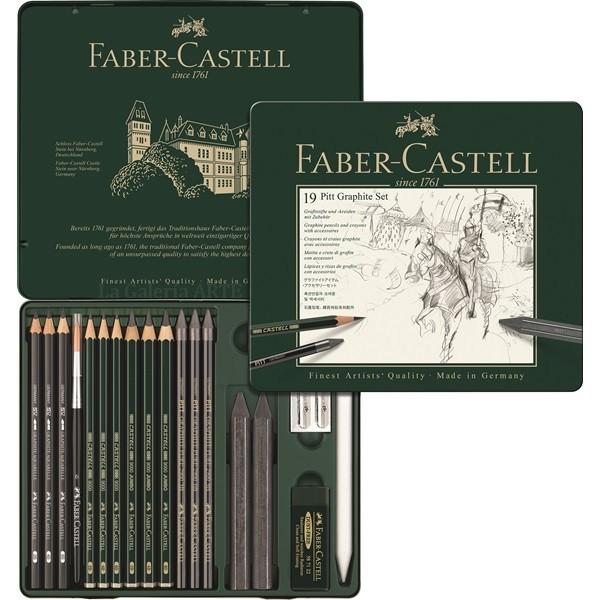 Estuche Metal 19 Lapices y Tizas Grafito FABER CASTELL Pitt Monochrome Set 112973