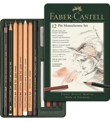 Estuche Metal 12 Lapices y Tizas FABER-CASTELL Pitt Monochrome Set