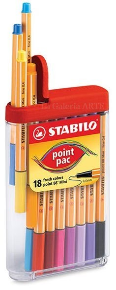 Estuche 18 Rotuladores Stabilo Point 88 Pac Mini 0,4mm