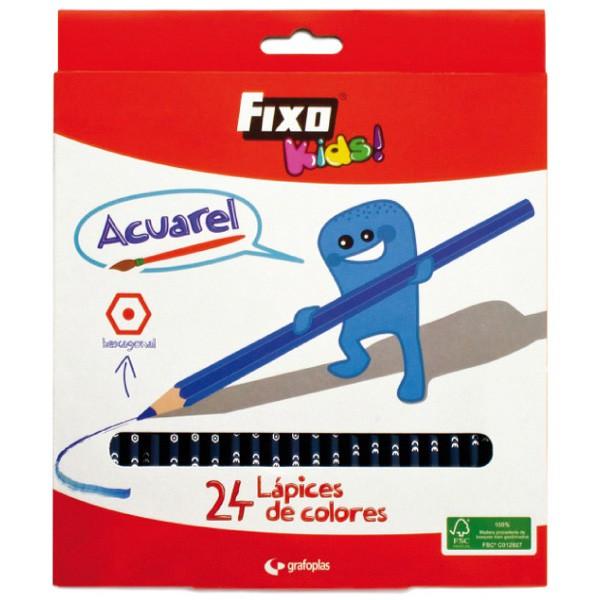 Estuche 24 Lapices de Colores Acuarelables FIXO Kids