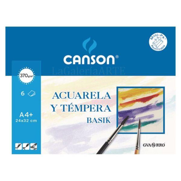 Mini-Pack Acuarela y Tempera BASIK CANSON 370g 6 hojas A4+ 24x32cm