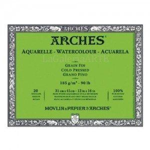 Bloc Acuarela ARCHES 185g. 23x31cm 20 hojas Grano Fino
