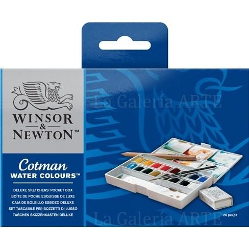 Estuche Acuarela WINSOR & NEWTON Cotman de Bolsillo Esbozo Deluxe 16 Pastillas