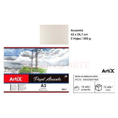 Mini Pack 5 Hojas Acuarela A3 300g ArtiX