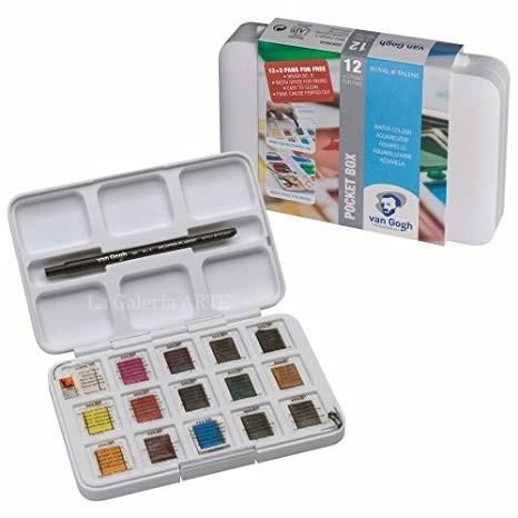 Estuche Pocket Box 12 + 3 pastillas Acuarela Van Gogh