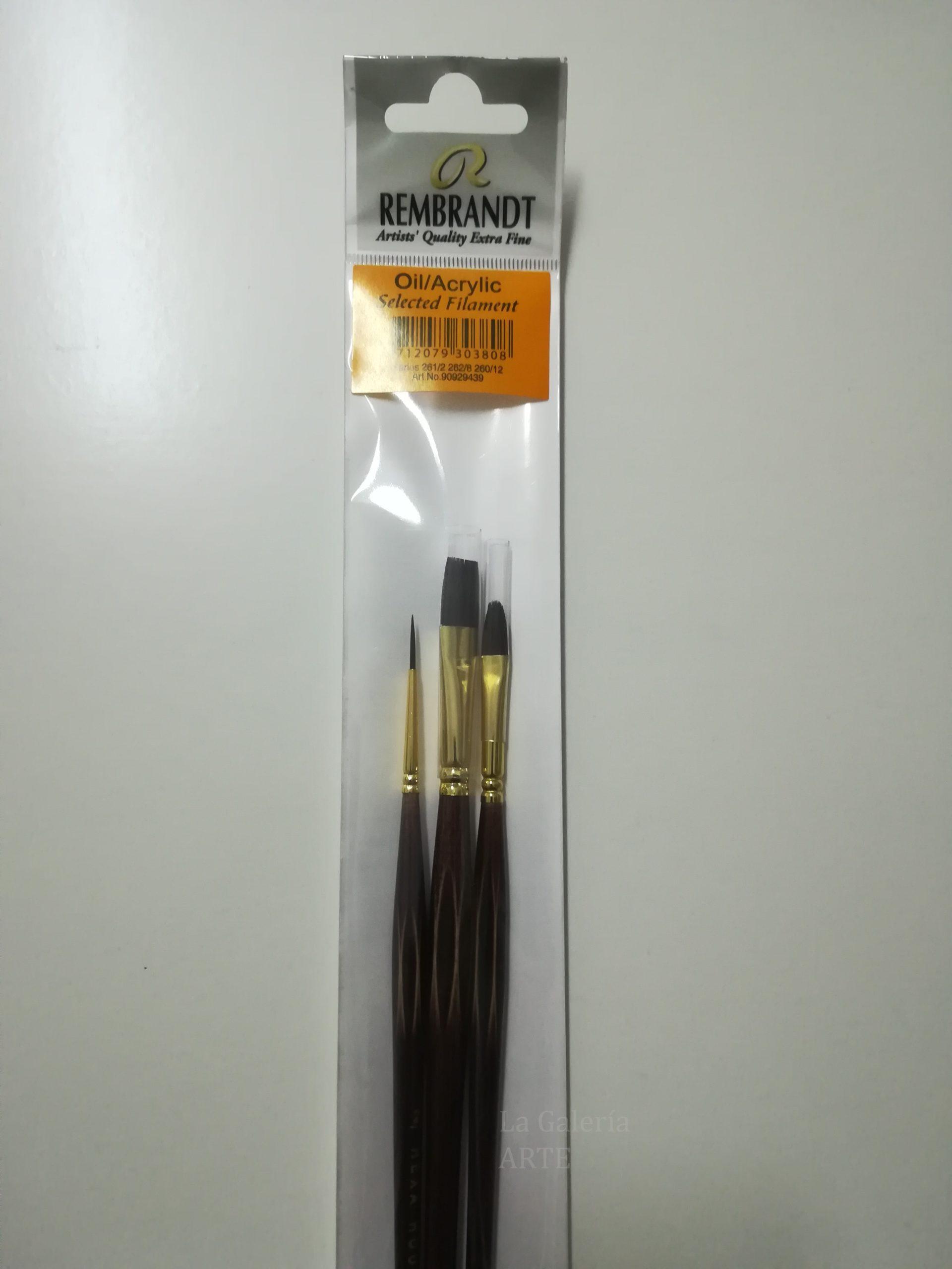 Set Pinceles Rembrandt Oleo y Acrilico 260-261-262 num. 12-2-8