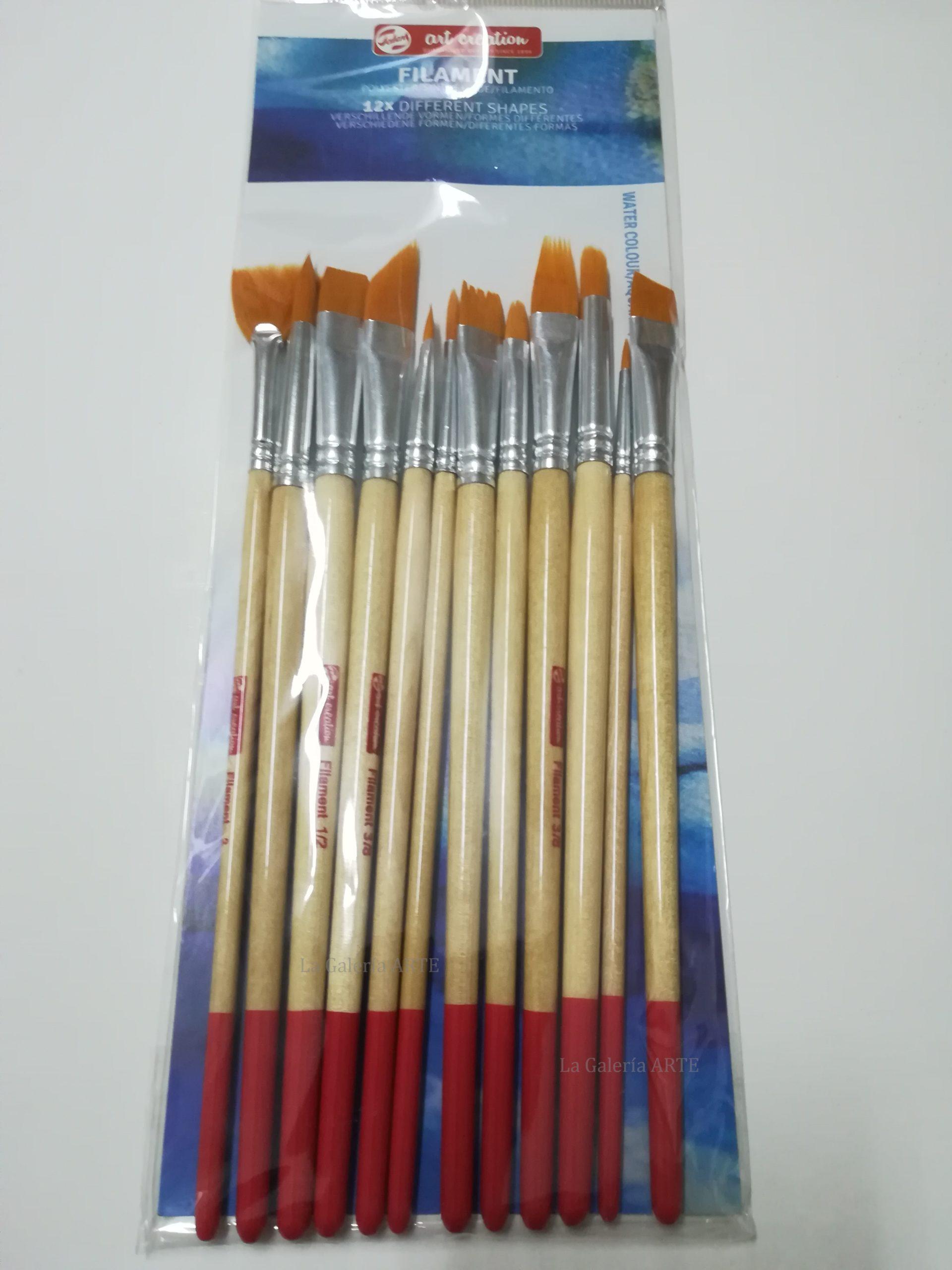 Set 12 Pinceles Toray Acuarela y Tempera ArtCreation Diferentes Formas