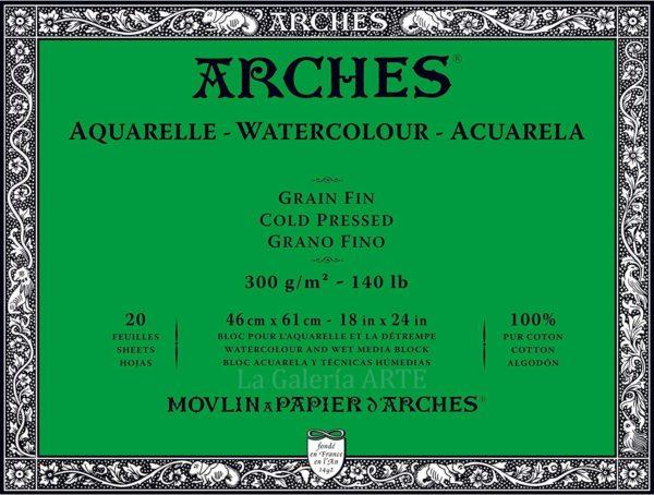 Bloc Acuarela ARCHES 300g. 46x61cm 20 hojas Grano Fino